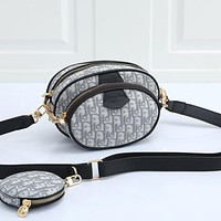 Christian Dior Canvas Embroidered Letters Women's Shopping Shoulder Bag Two-piece Crossbody Bag Wallet Gray