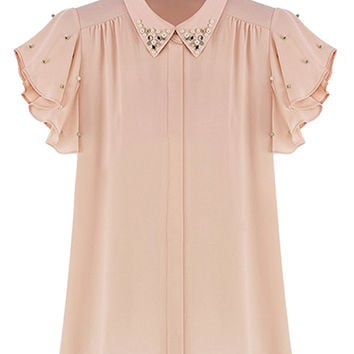 Light Pink Pointed Flat Collar Beaded Ruffled Sleeve Top