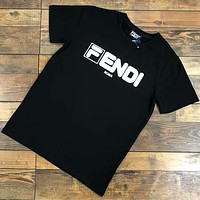 FENDI 2018 Classic Print Fashion Brand High Quality Short Sleeve T-Shirt F-CY-MN Black