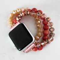 Coral Beaded Apple Watch Band
