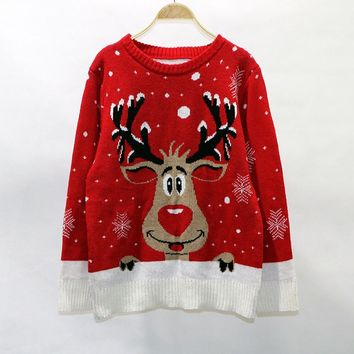 Cute Deer Elk Christmas Sweater Women Winter Knited Loose Plus Size Pullover O Neck Long Sleeve Warm Female Jumper Red Black