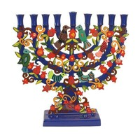 Laser Cut Standing Hanukkah Menorah - Pomegranate + Birds