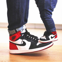 NIKE Women/Men Casual Running Sport Shoes Sneakers High tops  Red-Black-White