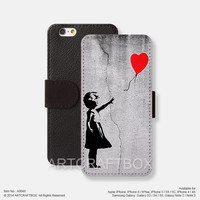 Banksy Art Girl Red Balloon iPhone Samsung Galaxy leather wallet case cover 048