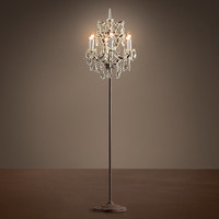 19th C. Rococo Iron & Clear Crystal Floor Lamp - Rustic Iron