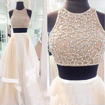 2016 New Long Strapless 2 piece ball gown Prom Dresses Tulle Skirt Beaded Bodice pst0042