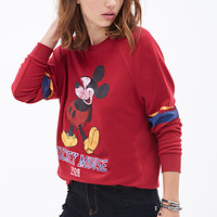 FOREVER 21 Mickey Mouse Raglan Sweatshirt Burgundy/Black