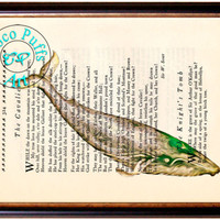 Light Brown Green Whale Art Beautifully Upcycled Vintage Dictionary Page Book Art Print, Sea Life Print