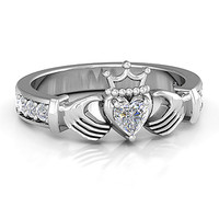 Infinity Claddagh with Heart Stone Ring with Accents