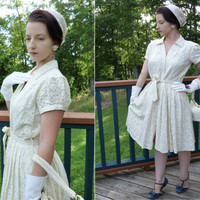 Vintage Rockabilly Dress // Islet 50s Style Cream Pin up Dress
