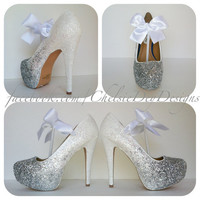 Ombre Angel Glitter High Heels by ChelsieDeyDesigns on Etsy