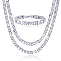 """Jewelry Kay style Men's Iced Gold / Silver Toned 18"""" / 22"""" Double Tennis Chain & 8"""" Bracelet SET"""