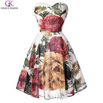 Grace Karin Cocktail Dresses Sweetheart Strapless Floral Print Pattern Chiffon Short Formal Gowns Pretty Cocktail Party Dresses