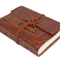 Rustic Distressed Brown Leather Journal with Key Charm Bookmark