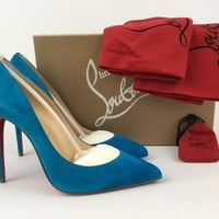Christian Louboutin Pigalle Follies Blue Suede Pointy Toe Pump 37.5