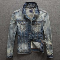 Hitz retro washed denim jacket Slim jeans male tide men's jackets