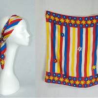 Vintage 70's Scarf So Mod! Red Yellow Blue Flower Stripe Print Square