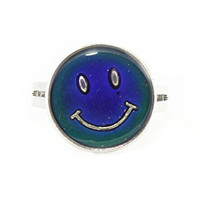 Smiley Face Mood Ring Adjustable Silver Tone Color Change RL19 Statement Fashion Jewelry
