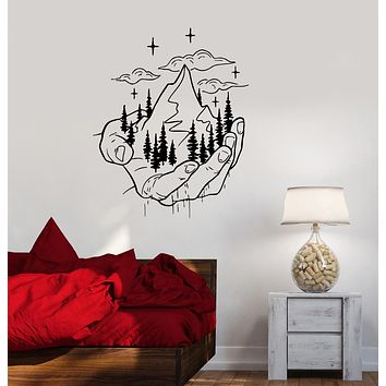 Wall Decal Nature In The Palm Hand Environmental Protection Vinyl Sticker (ed1937)