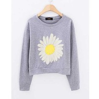 Grey Daisy Short Pullover Sweater from Whitelily Fashion