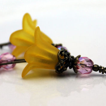 Vintage Style Buttercup Yellow Lucite Flower and Czech Bead Dangle Charm Drop Pair