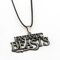 JM 5Pcs/lot Movie Jewelry Fantastic Beasts And Where To Find Them Letter Logo Pendant Leather Necklace Women colar feminino