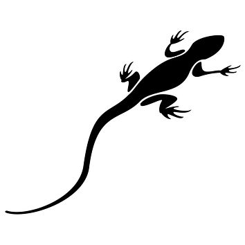 Black Lizard Waterproof Temporary Tattoos Lasts 3 to 4 days Choose Small, Medium or Large Sizes