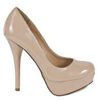Delicious Jones-H Platform Pumps-Shoes, Dk Beige Patent, 7.5