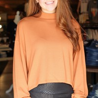 Pumpkin Mock Neck Ribbed + Cropped Sweater