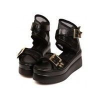 Unique Open Toe Mesh Cross Strap Flatform Ankle Sandals Booties 2 Colors