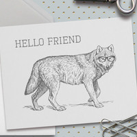 Hello Friend Note Card, Wolf With Glasses, Hipster Wolf, 5.5 x 4.25 Inch, Gray Wolf, Greeting, Wolves, Animal Note Cards, Vintage Wolf,