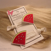 Watermelon Slice no crease hair ties//foe//creaseless hair ties//hair accessories//elastic hair ties//Bachelorette Party Favors//Made in USA