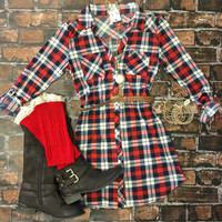 You Plaid me at Hello Belted Tunic Dress: Red