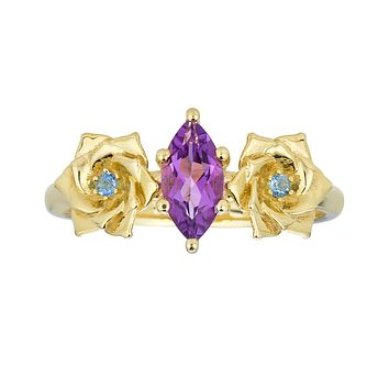 Double Rose Ring-Amethyst and Aquamarine