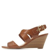Tan City Classified Slingback Low Wedge Sandals