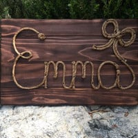 """26"""" Rope name sign, western sign, new baby, western nursery, western theme, country decorations, photo prop,cowgirl theme, emma,"""