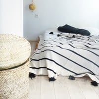Moroccan POM POM Cotton Blanket Ecru - Black Stripes