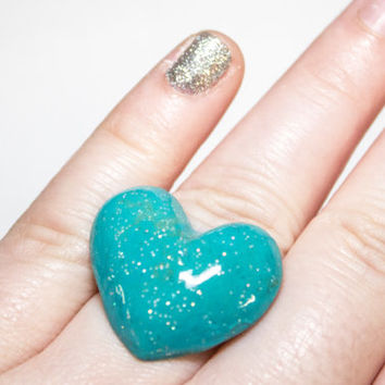 Oceans Blue Glamour and Glitter ring