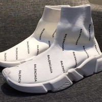 Women's White Balenciaga Monogram Speed Sneaker