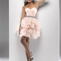 Blush Gathered Tulle Strapless Lace Up Short Prom Dress - Unique Vintage - Cocktail, Pinup, Holiday & Prom Dresses.