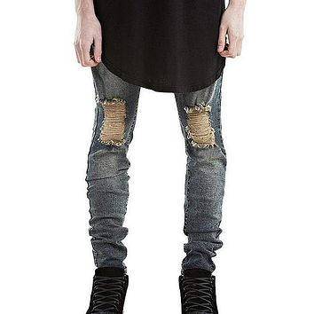 Simple Style Man Solid Color Extensible Slim Jeans