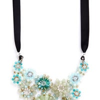 ModCloth Statement Wine and Fine Dine Crystal Necklace in Mint