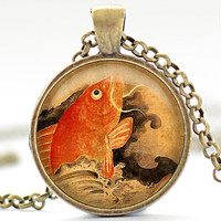 Japanese Koi Fish Necklace, Koi Fish Jewelry, Goldfish Pendant (871)