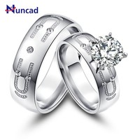 2017 Romantic Stainless Steel Couple Rings U Type Silvery Zircon Promise Jewelry Classic Wedding Rings Bijoux To Lovers' anillos