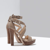 Wide heel leather sandal