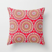 Mandala Burst in Red Throw Pillow by Sarah Oelerich