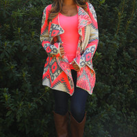 Neon Native Cardigan: Gray/Neon Pink
