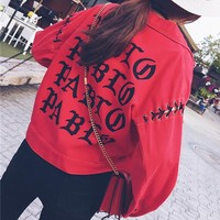 """Chrome Hearts"" Women Fashion Loose Letter Print Hollow Bandage Long Sleeve Denim Cardigan Short Coat"