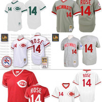 Red white Throwback Pete Rose Authentic Jersey , Men's #14 Mitchell And Ness Grey 1969 Cincinnati Reds 1990 Turn Back The Clock