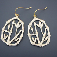 Bamboo, Tree, Ear, Drops, Gold, Earrings, Oriental, Luck, Tree, Earrings, Modern, Simple, Lovely, Gift, Jewelry